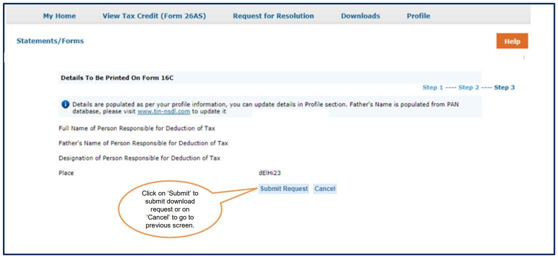 TRACES - Download Form 16C - Authorised Person Details