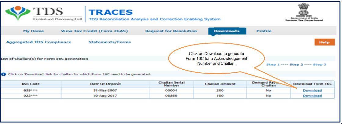TRACES - Download Form 16C - Challan List