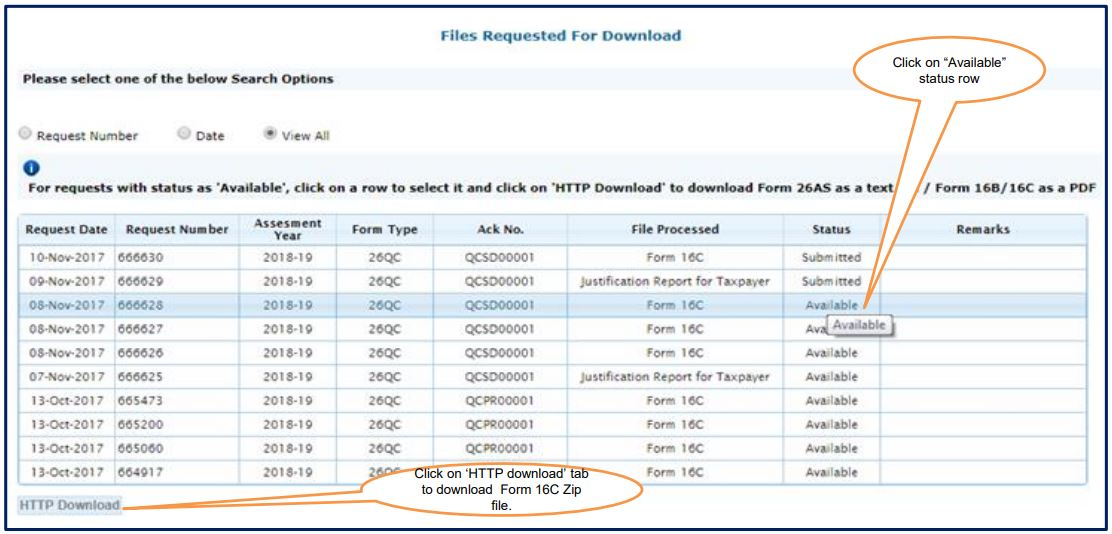 TRACES - Download Form 16C - Request Number