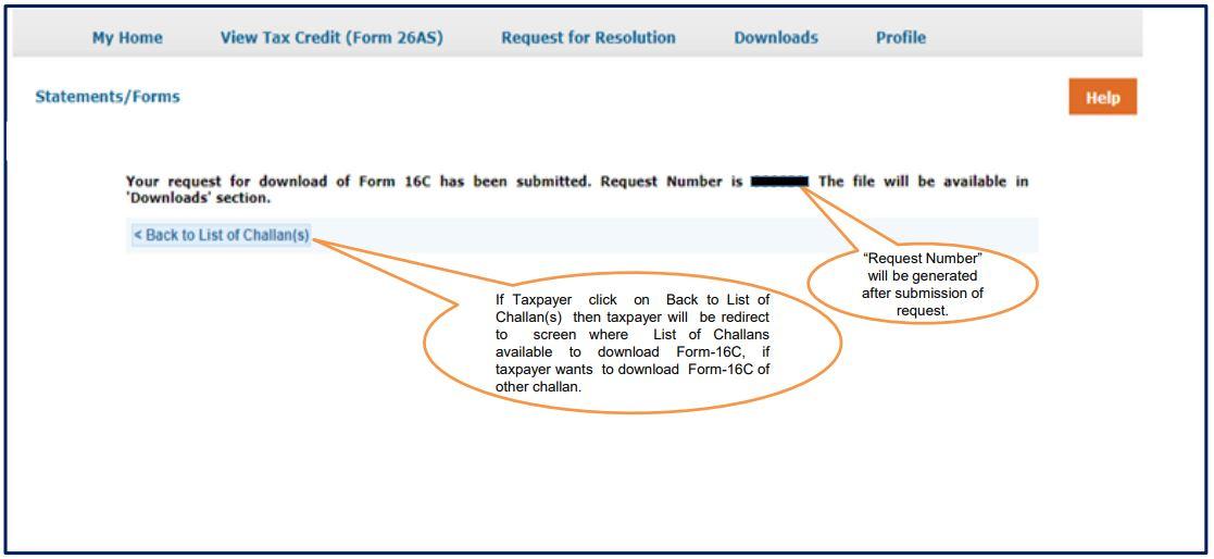 TRACES - Download Form 16C - Success Message