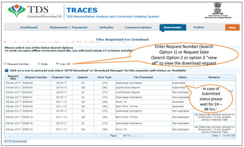 TRACES - Download Intimation