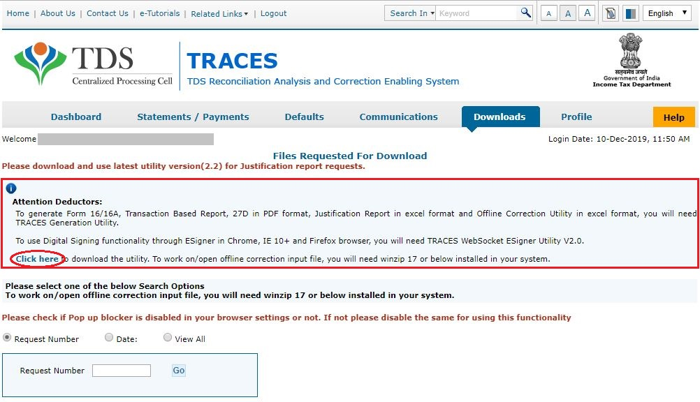 TRACES - Download TRACES Utility
