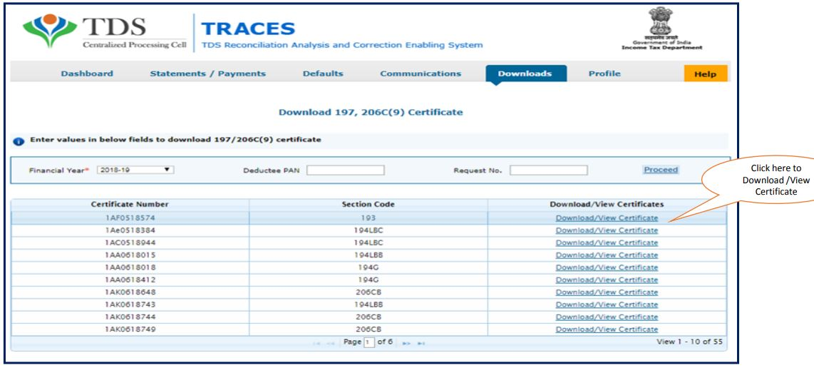 TRACES - Download or View Certificate