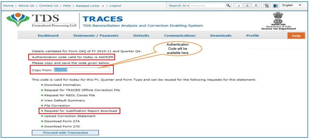 TRACES - Enter Authentication Code & Request for Justification Report