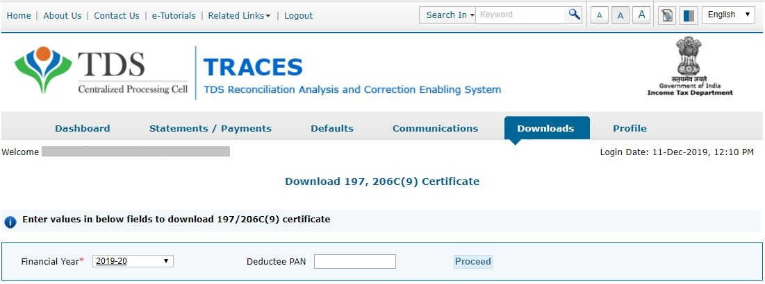 TRACES - Download Certificate u/s 197 - Enter Financial Year and Deductee PAN