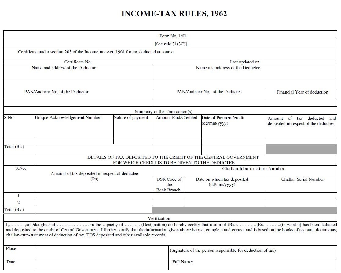 TRACES - Form 16D