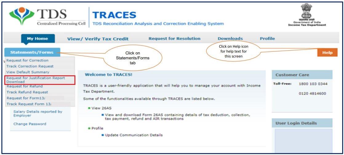 TRACES - Form 26QB / 26QC Justification Report - Navigate