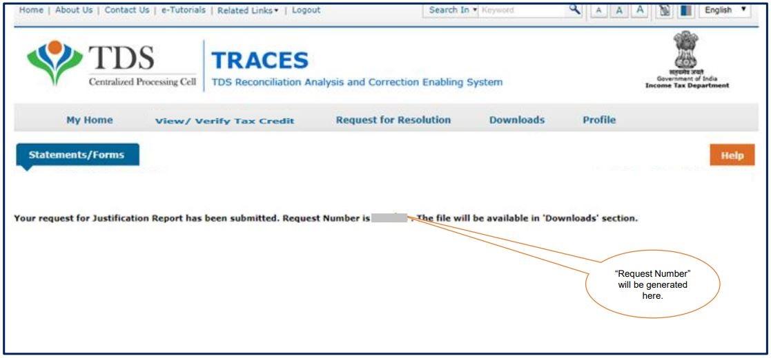 TRACES - Form 26QB / 26QC Justification Report - Request Number