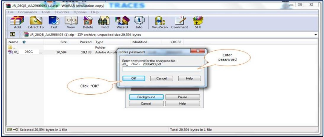 TRACES - Form 26QC Justification Report - Download zip file and Enter Password