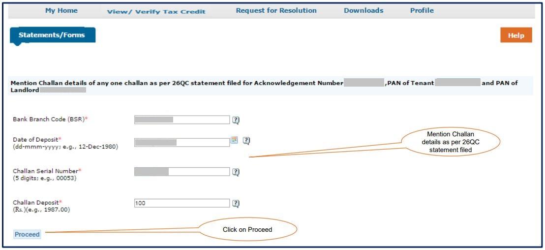 TRACES - Form 26QC Justification Report - Enter Challan Details