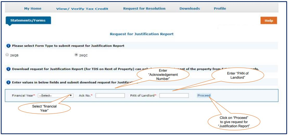 TRACES - Form 26QC Justification Report - Enter Financial Year, Acknowledgement Number and PAN of Landlord