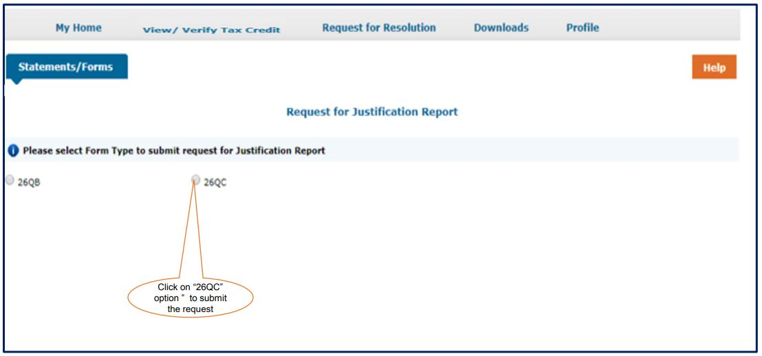 TRACES - Form 26QC Justification Report - Select Form Type
