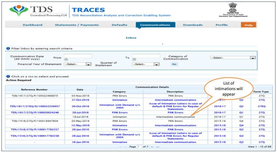 TRACES - Intimations - View Details
