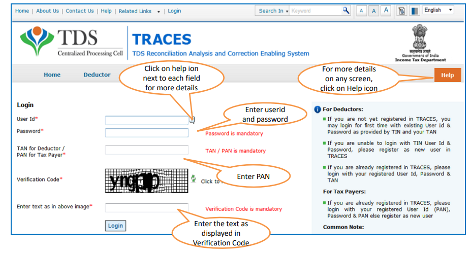 TRACES - Login Page for Taxpayers