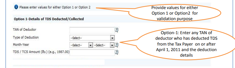 TRACES - Option 1 - Details of TDS Deductor or Collector