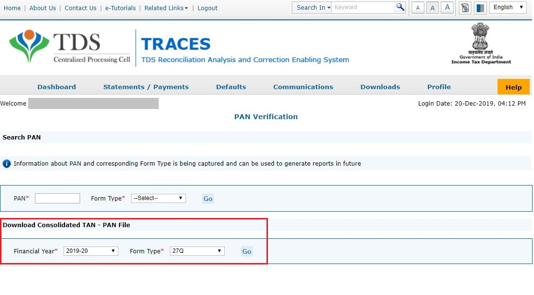 TRACES - Consolidated TAN-PAN File - Financial Year & Form Type