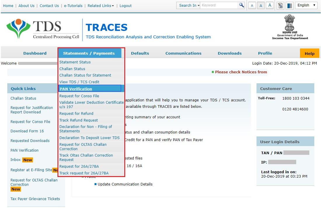 TRACES - PAN Verification - Statements & Payments