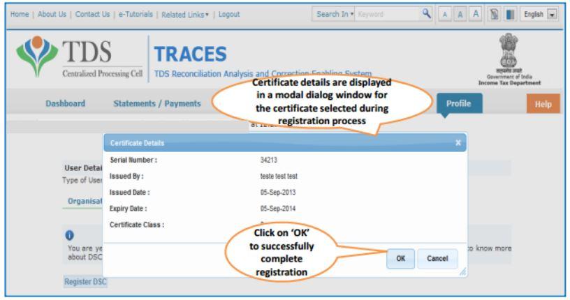 TRACES - Register DSC - Certificate details