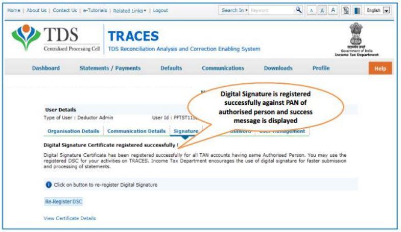 TRACES - Register DSC - Success message