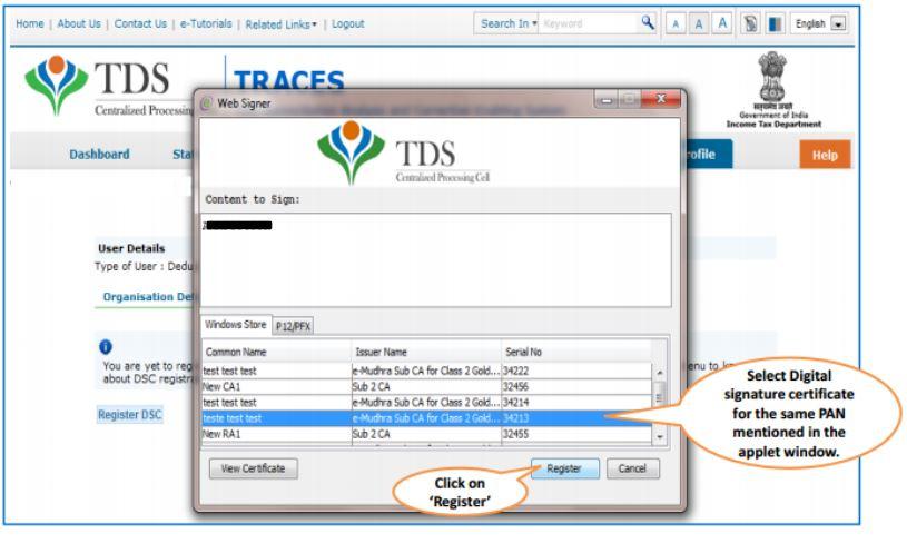 TRACES - Register DSC - select DSC