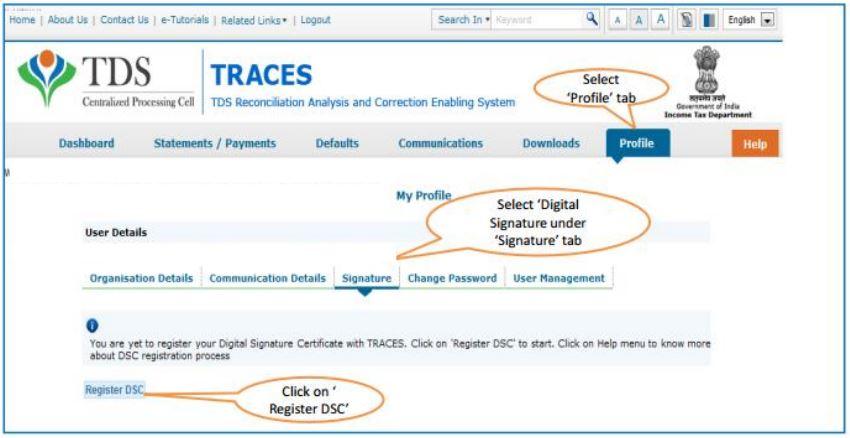 TRACES - Register DSC under Profile