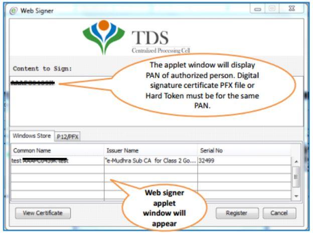TRACES - Register DSC - websigner window