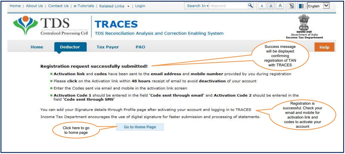 TRACES - Registration Successfully Submitted