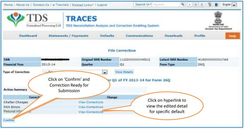 TRACES - Request for Correction - Action Summary