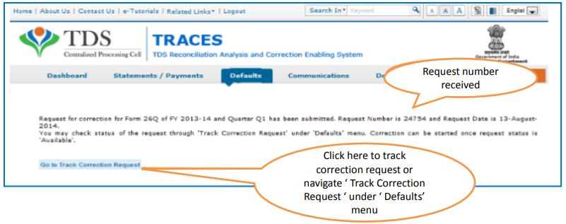 TRACES - Request for Correction - Request Number