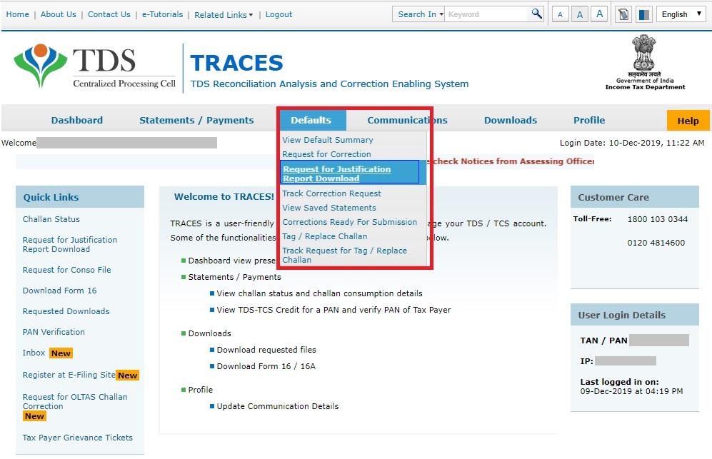 TRACES - Request for Justification Report
