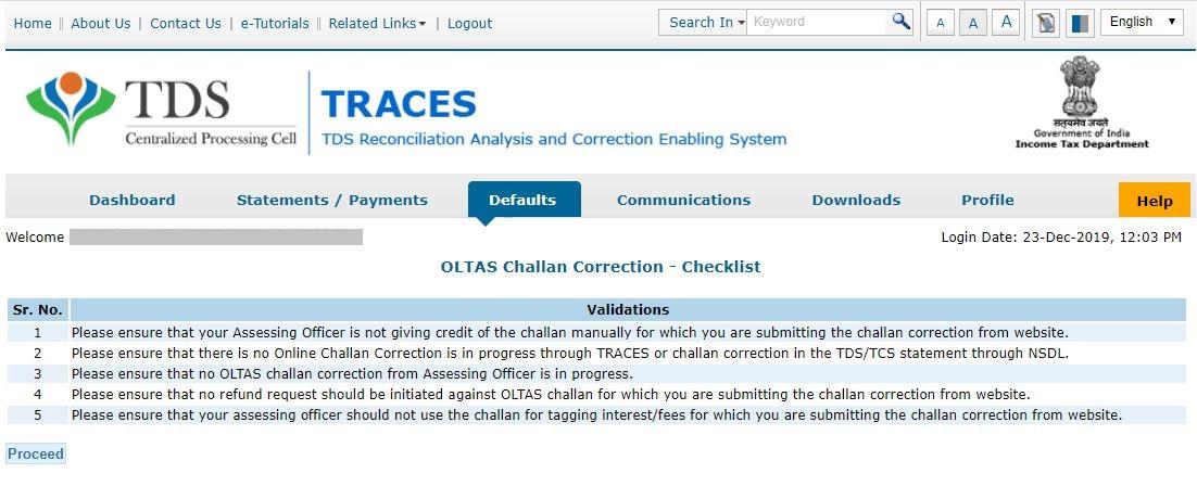 TRACES - Request for OLTAS Challan Correction - Checklist