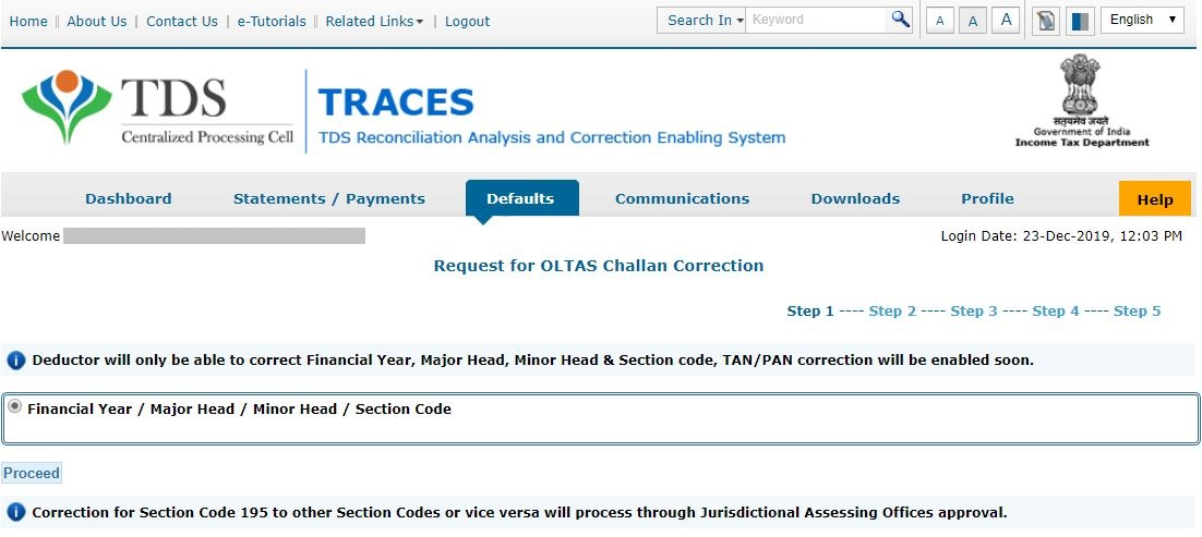 TRACES - Request for OLTAS Challan Correction - Correct Financial Year, Major Head, Minor Head, Section Code