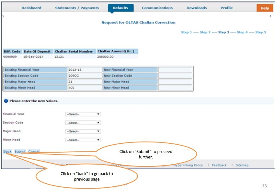 TRACES - Request for OLTAS Challan Correction - Enter New Values
