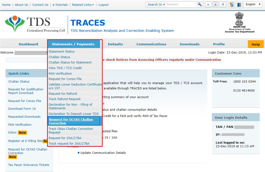 TRACES - Request for OLTAS Challan Correction - Navigate