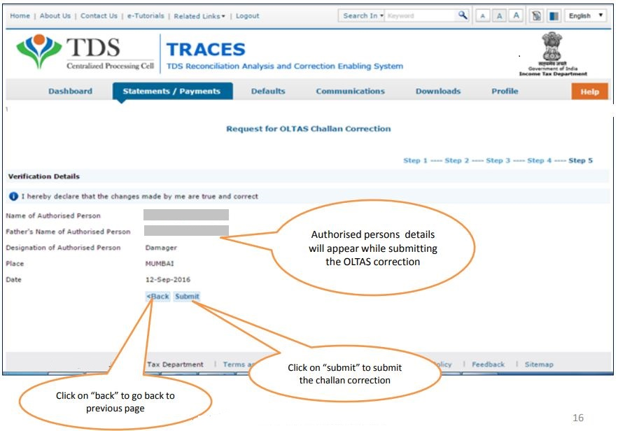 TRACES - Request for OLTAS Challan Correction - Verify Authorised Person details
