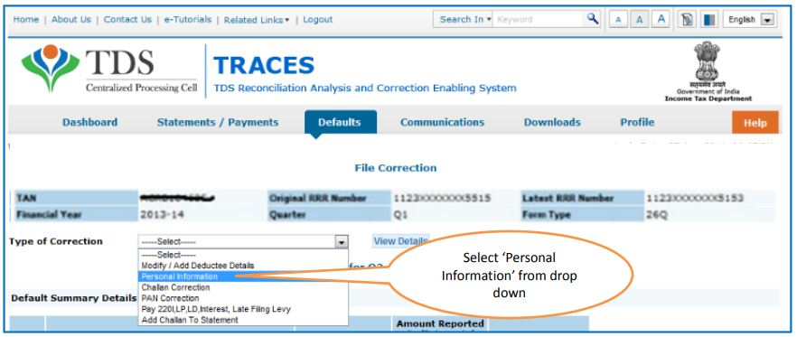 TRACES - Request for Personal Information Correction - File Correction Screen