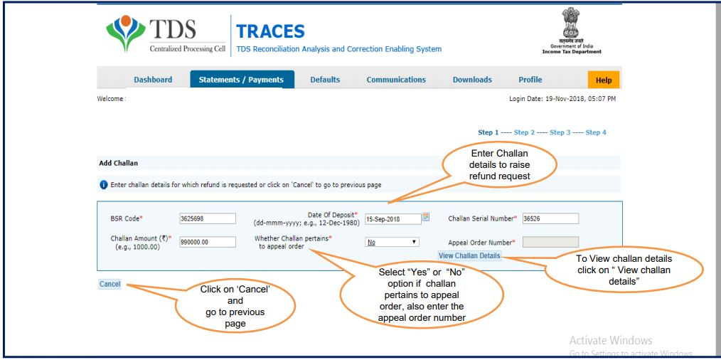 TRACES - Request for Refund - Add Challan