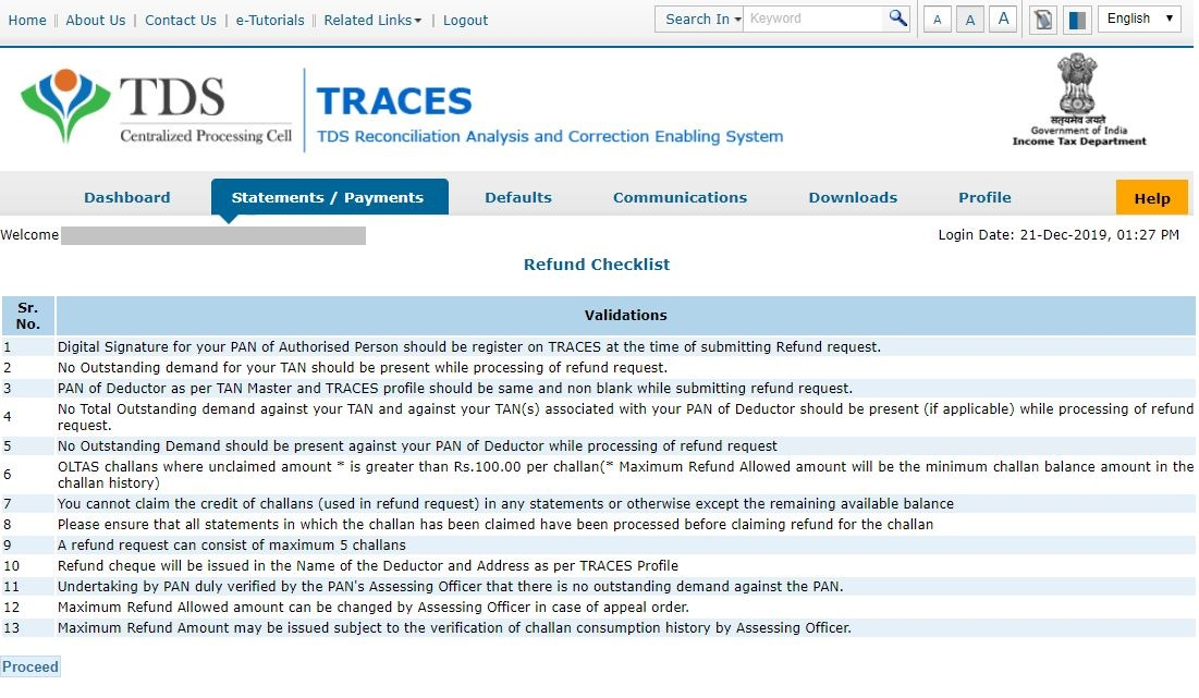 TRACES - Request for Refund Checklist