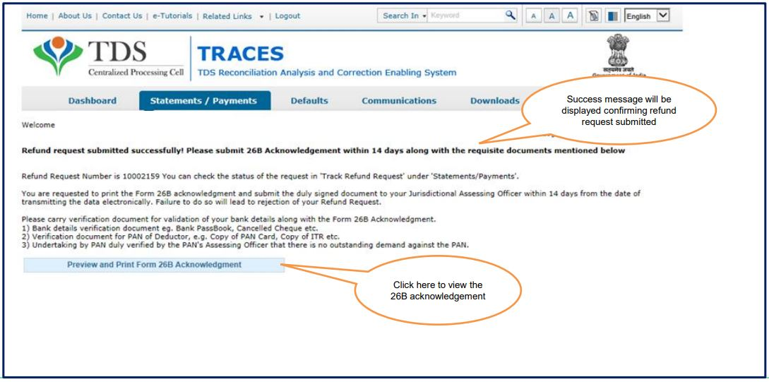 TRACES - Request for Refund - Success message