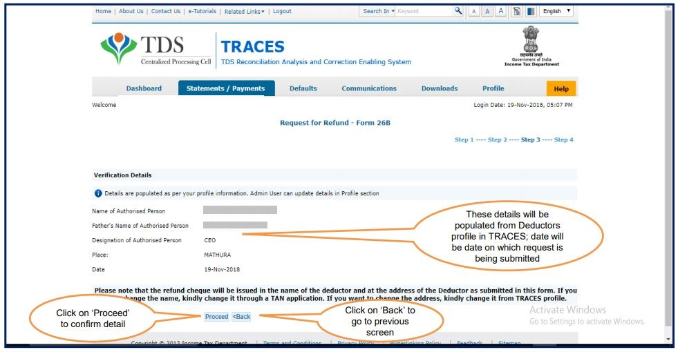 TRACES - Request for Refund - Verify Authorised Person details