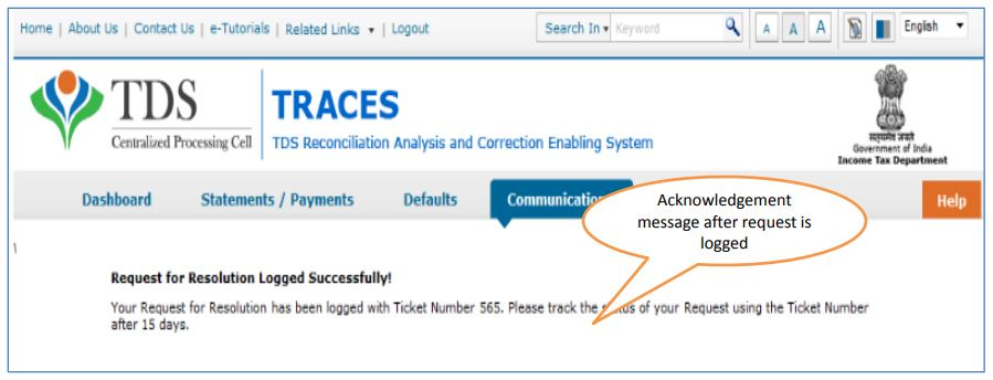 TRACES - Request for Resolution - Ticket Number