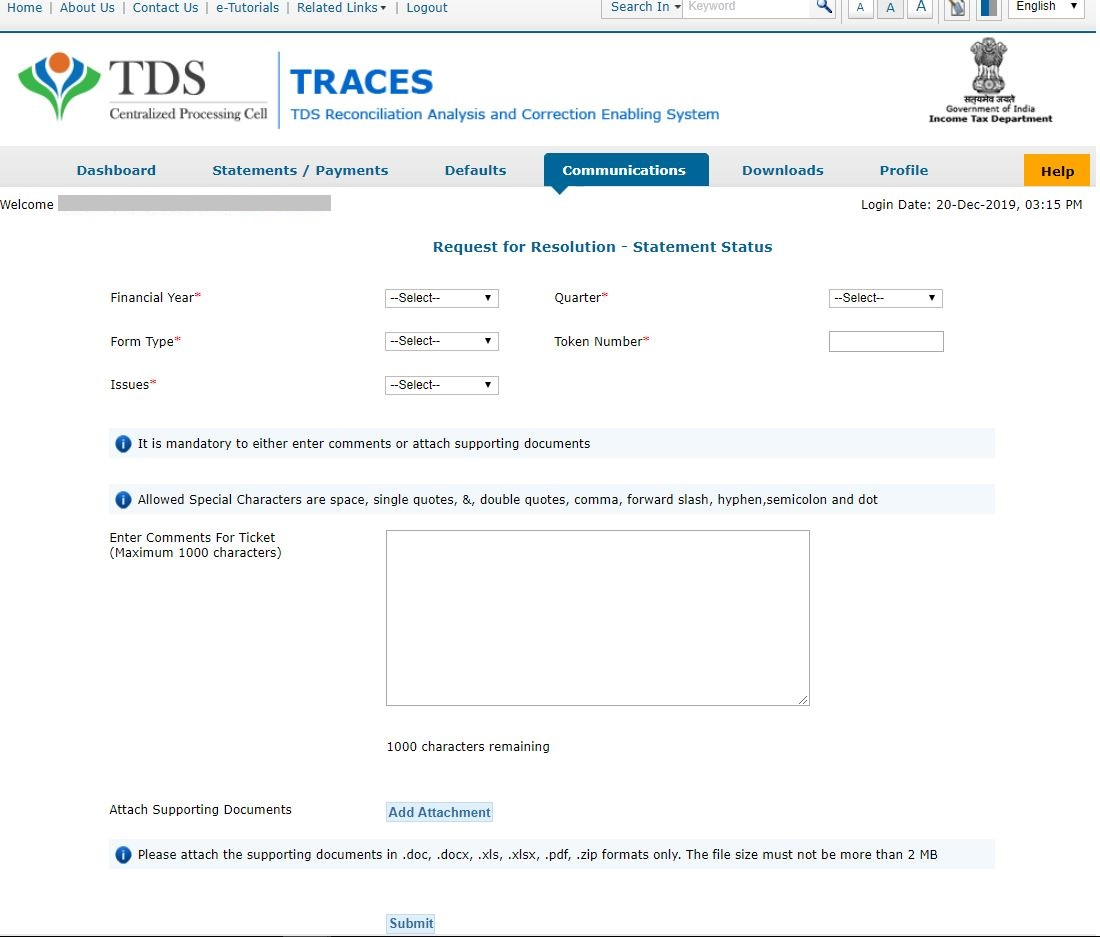 TRACES - Request for Resolution - details, comments, documents
