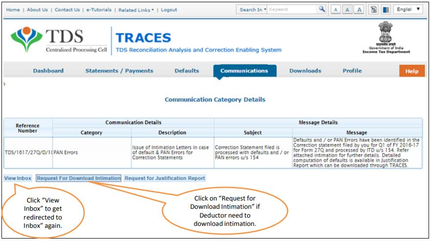 TRACES - Request to Download Intimation