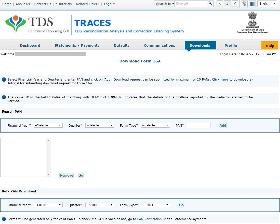 TRACES - Select Financial Year, Enter PAN