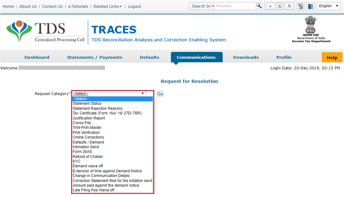 TRACES - Select Request Category