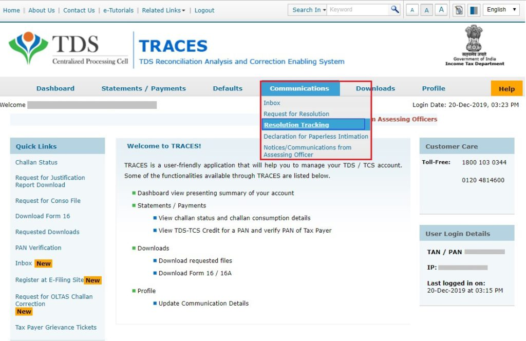 TRACES - Tracking Resolution - Communications