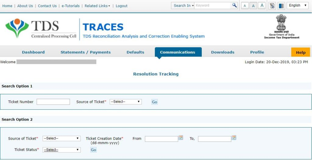 TRACES - Tracking Resolution - Search using Ticket Number or Date
