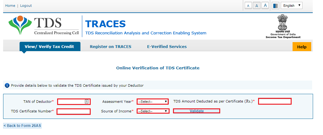 TRACES - Verification of TDS Certificate Page