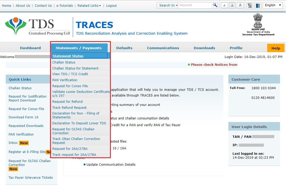 TRACES - View Statement Status Navigation