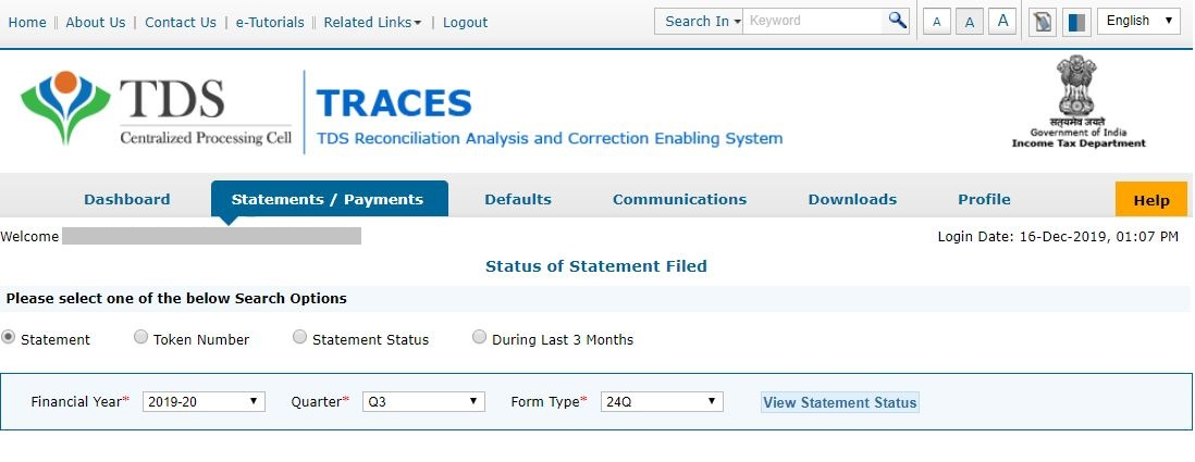 TRACES - View Statement Status - Search using Statement Details